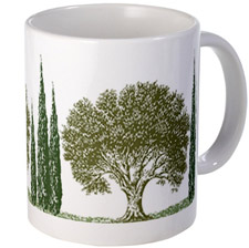 olive trees and cypress greece mug