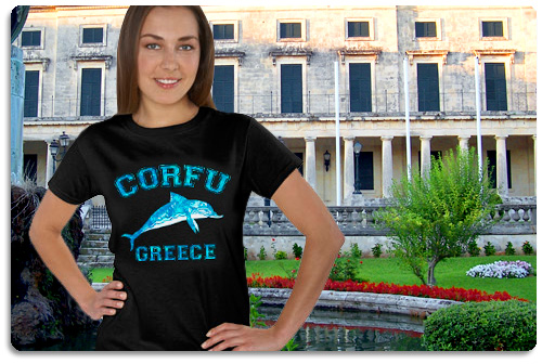 Corfu t shirt displayed on model with scenery