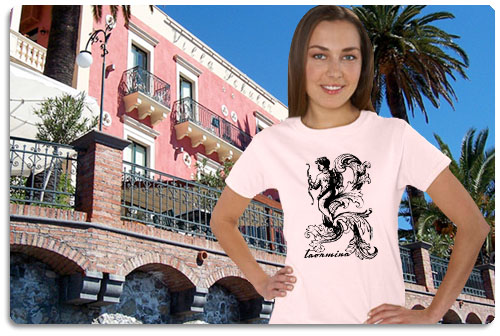 Taormina t shirt displayed on model with scenery