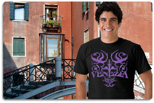 Venice t shirt displayed on model with scenery